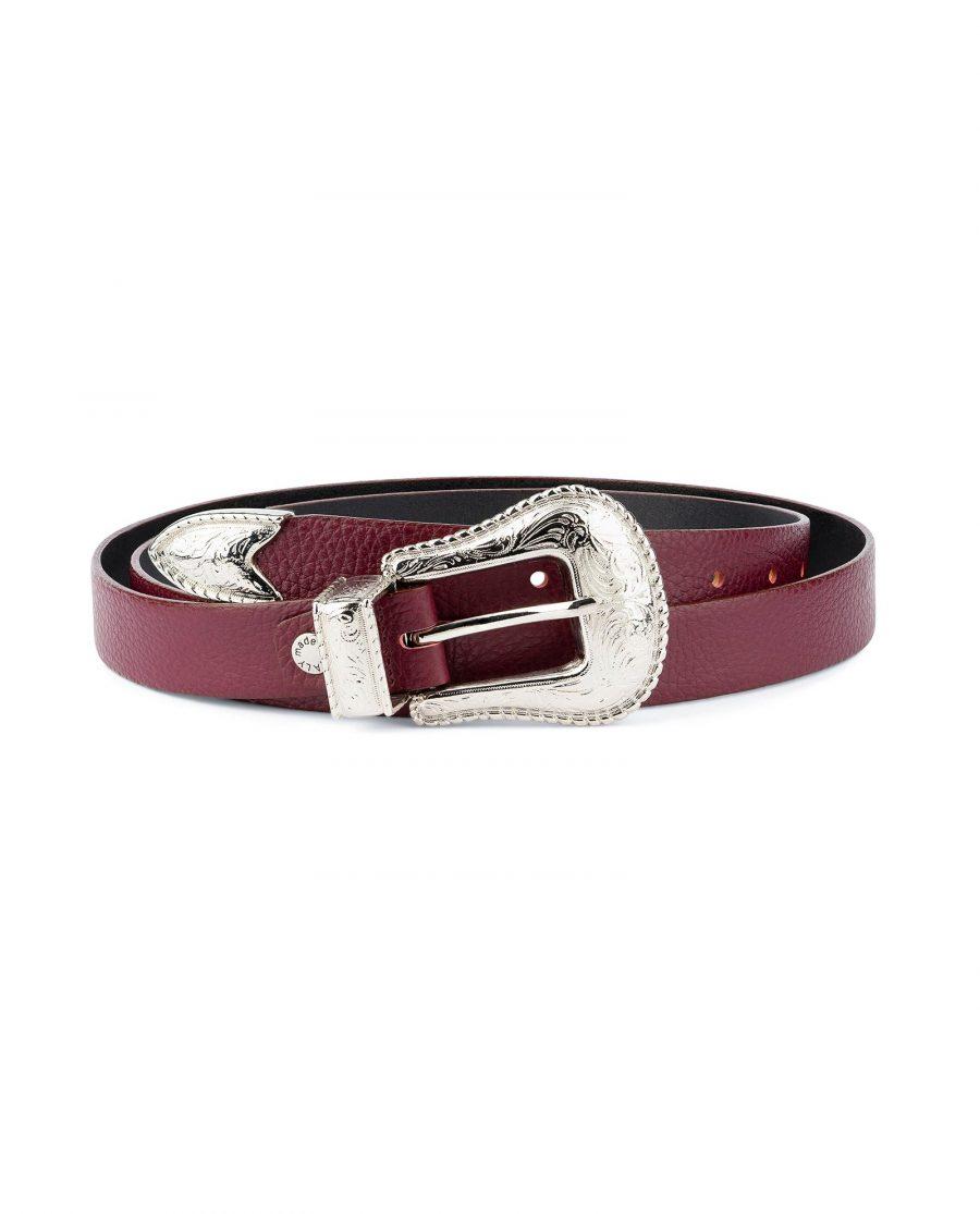 Western Burgundy Belt For Women Capo Pelle