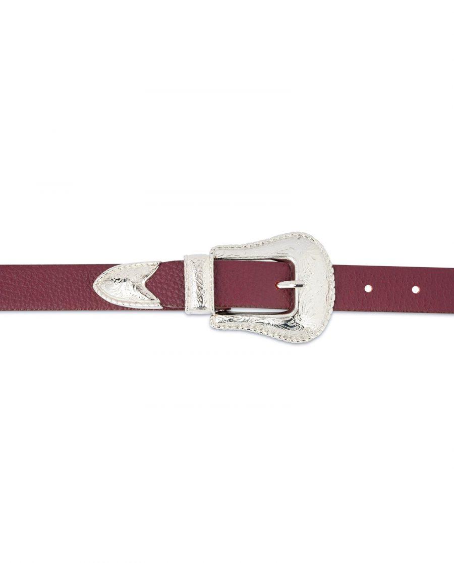 Western Burgundy Belt For Women For jeans