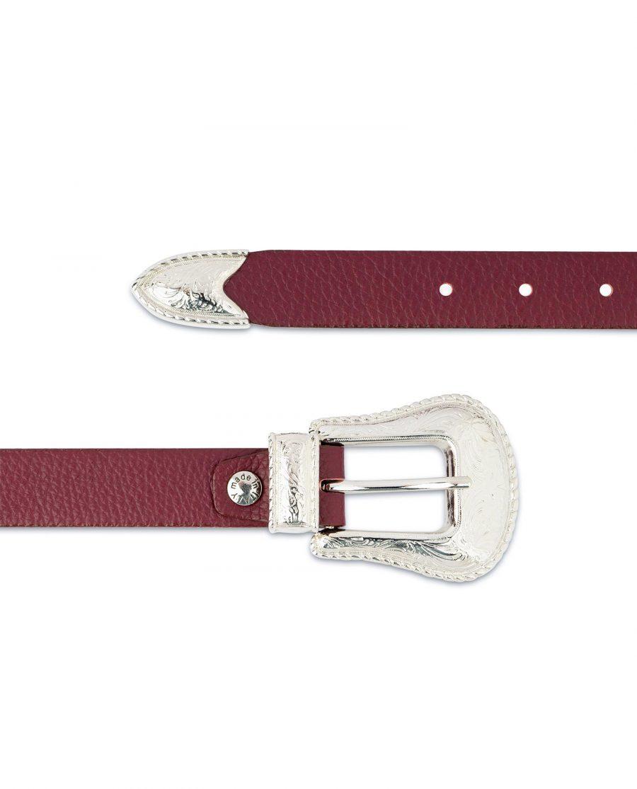 Western Burgundy Belt For Women Genuine leather