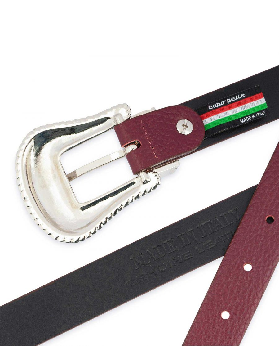 Western Burgundy Belt For Women Made in Italy