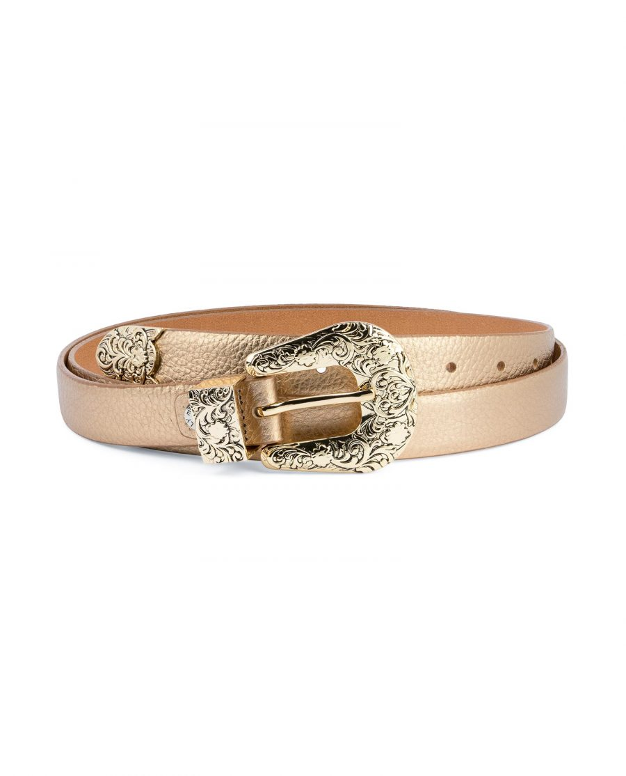 Western Rose Gold Belt With Gold Buckle Capo Pelle