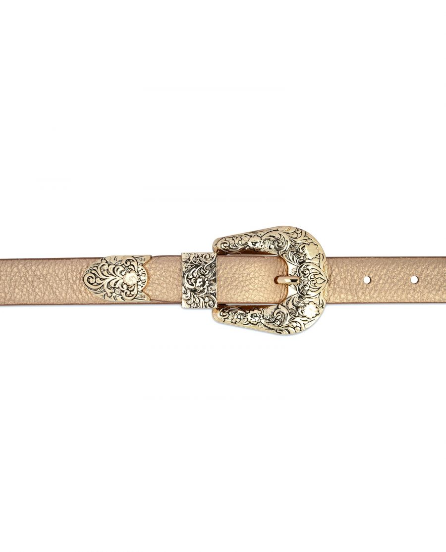 Western Rose Gold Belt With Gold Buckle For dresses