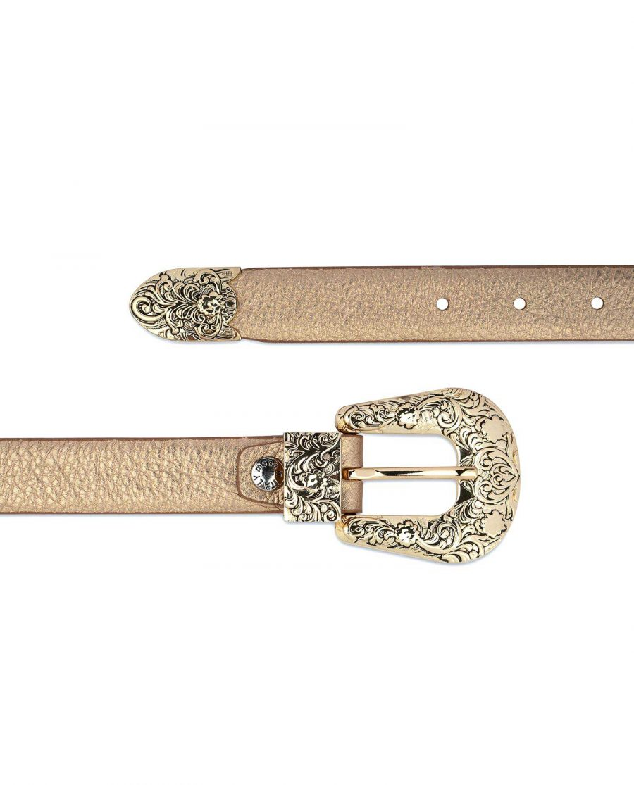 Western Rose Gold Belt With Gold Buckle On jeans