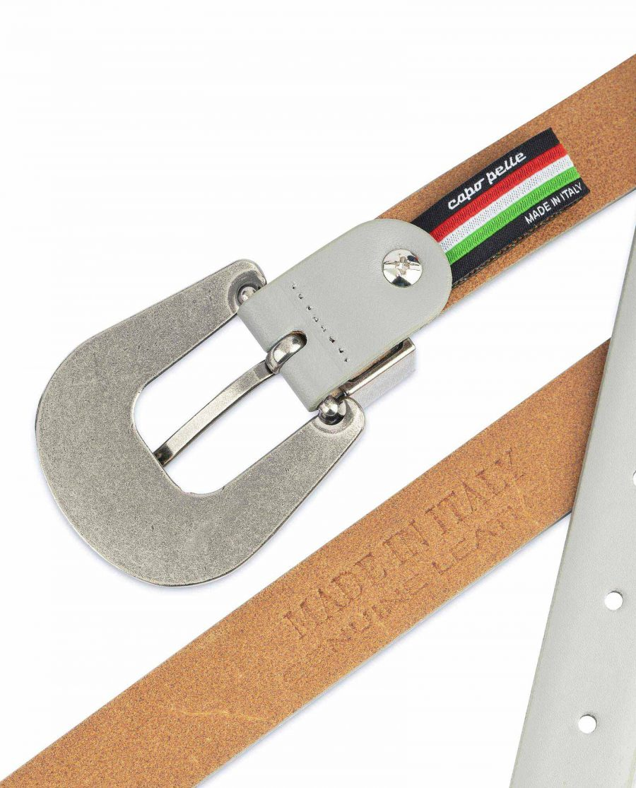 Womens Western Belt With Buckle Grey Leather Made in Italy