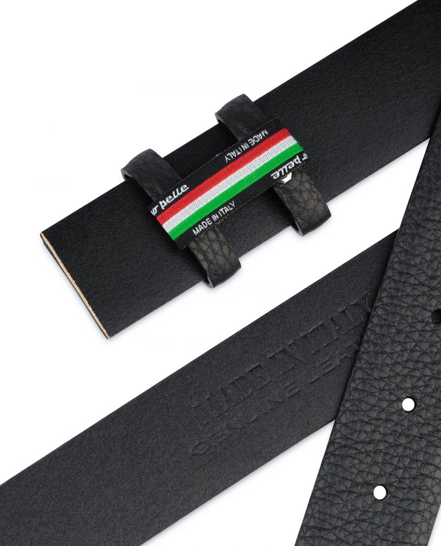 Black Mens Belt for Buckles Genuine Leather Without