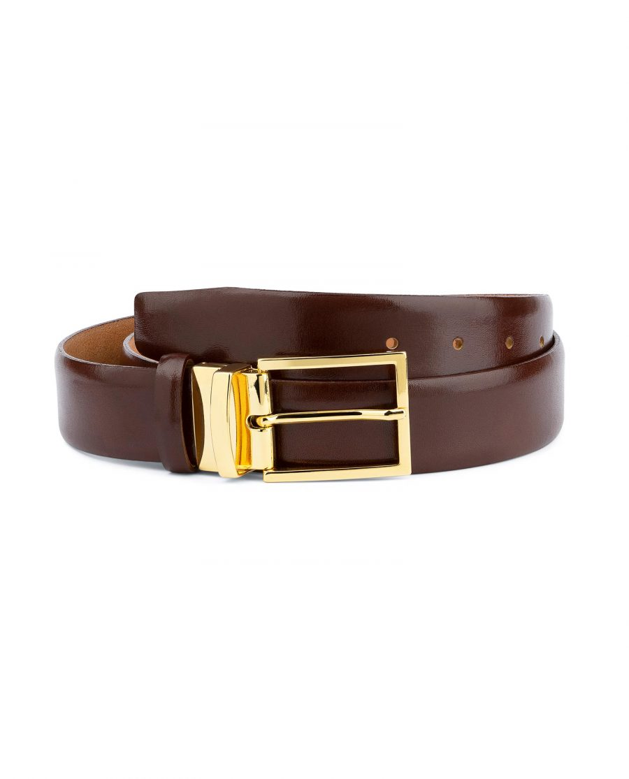 Brown Belt With Gold Buckle For Men Capo Pelle