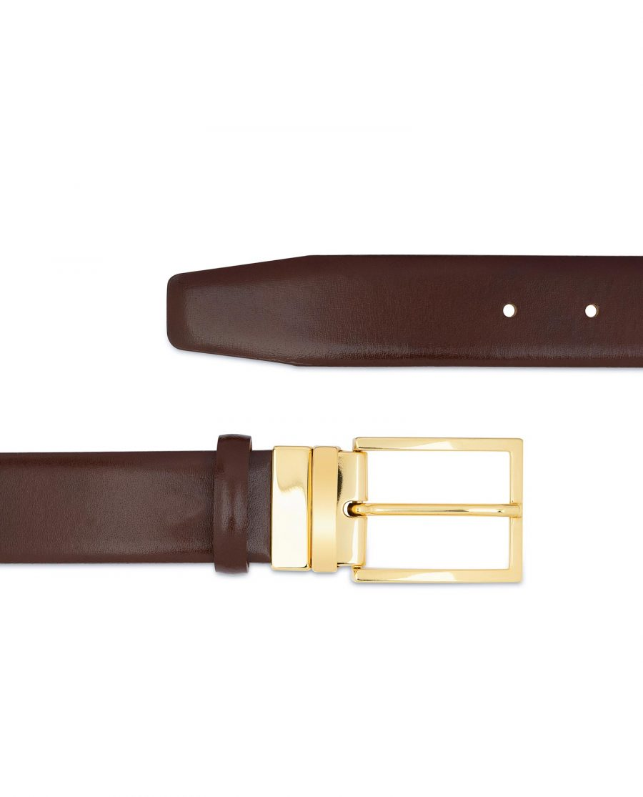 Brown Belt With Gold Buckle For Men Dress