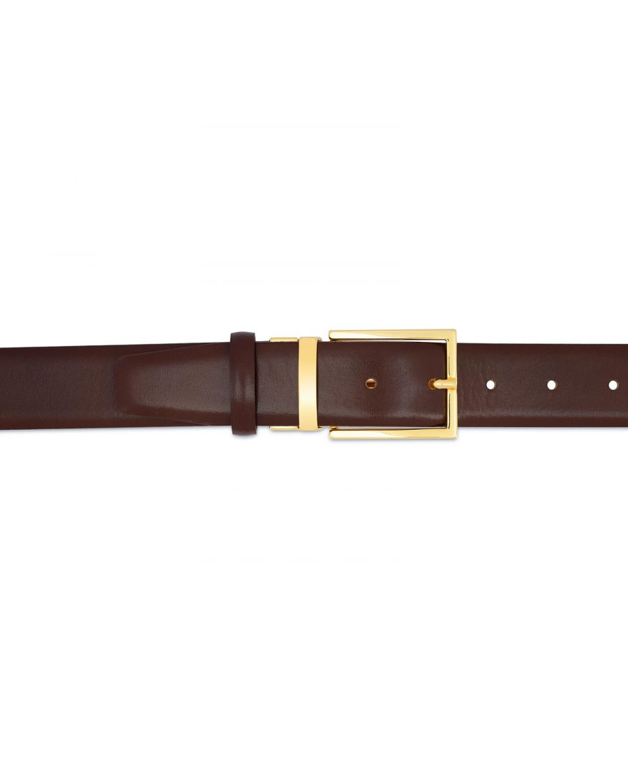 Brown Belt With Gold Buckle For Men For pants