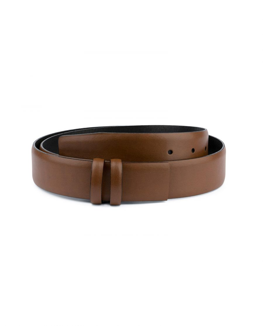 Brown Mens Belt for Buckles 1 3 8 inch Vegetable Tan Capo Pelle