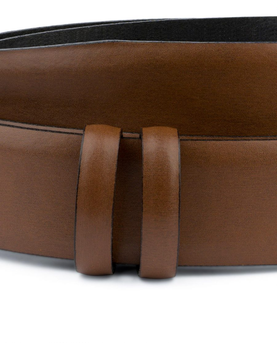 Brown Mens Belt for Buckles 1 3 8 inch Vegetable Tan Cognac