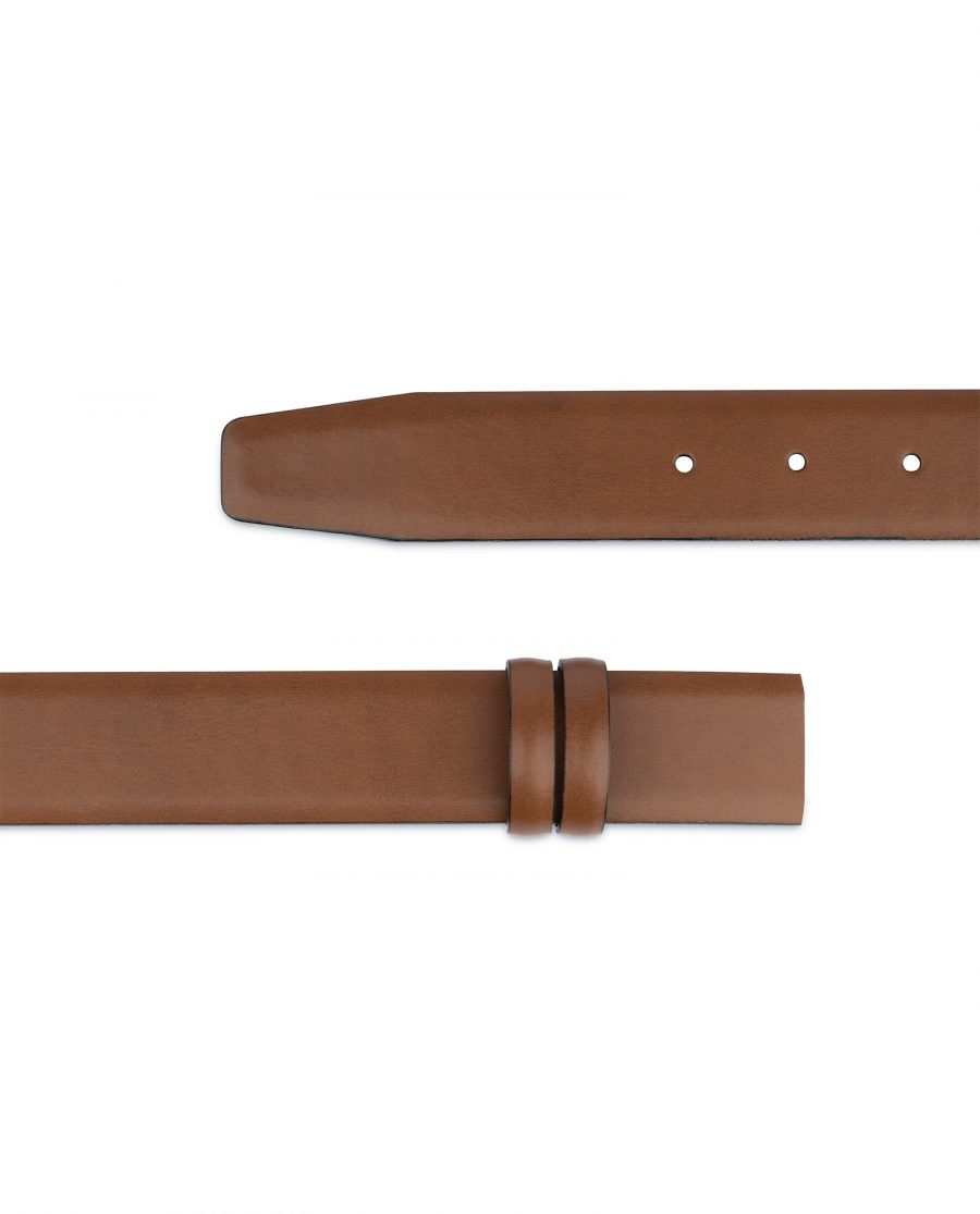 Brown Mens Belt for Buckles 1 3 8 inch Vegetable Tan Genuine Leather