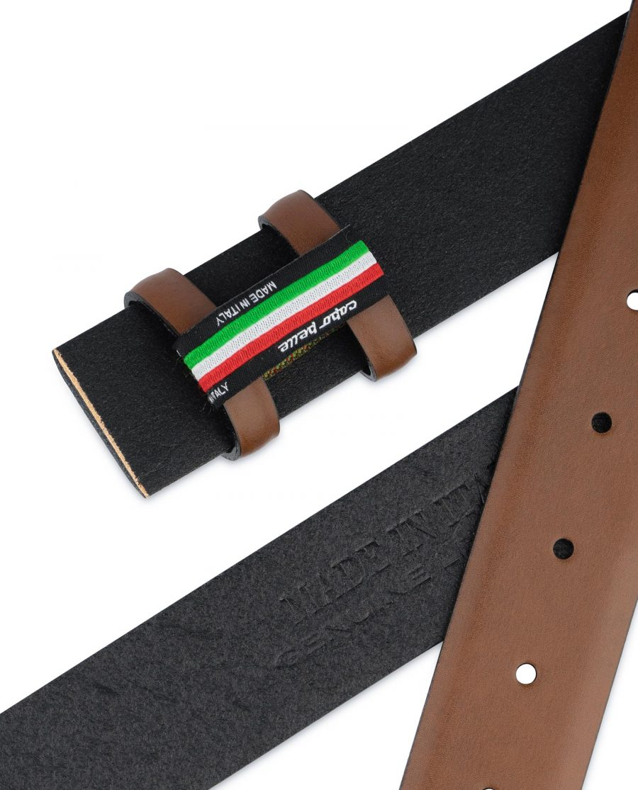 Brown Mens Belt for Buckles 1 3 8 inch Vegetable Tan Italian leather