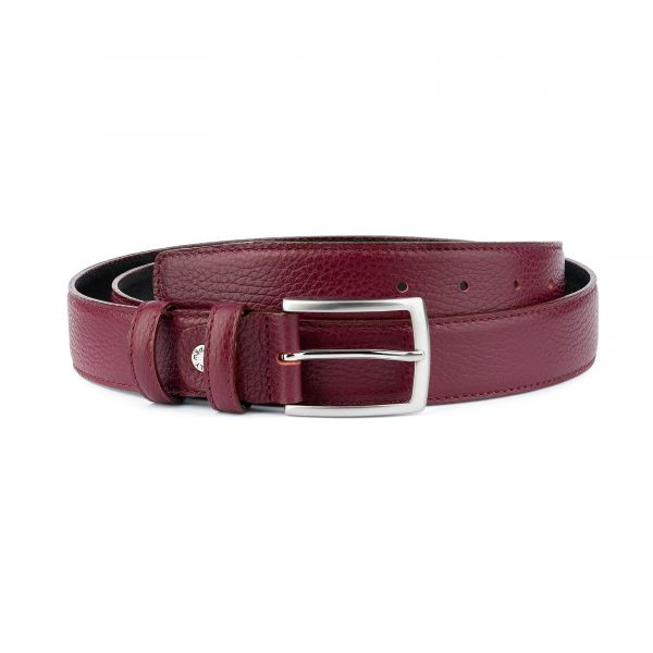 Burgundy Belt For Men Genuine Leather Capo Pelle
