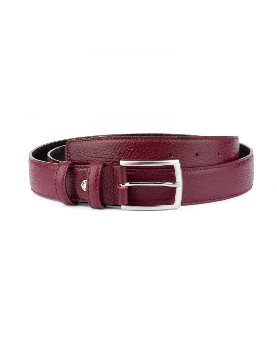 Burgundy Belt For Men Genuine Leather Capo Pelle