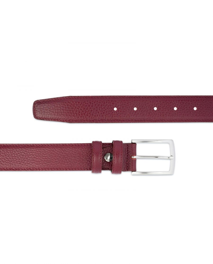 Burgundy Belt For Men Genuine Leather Casual