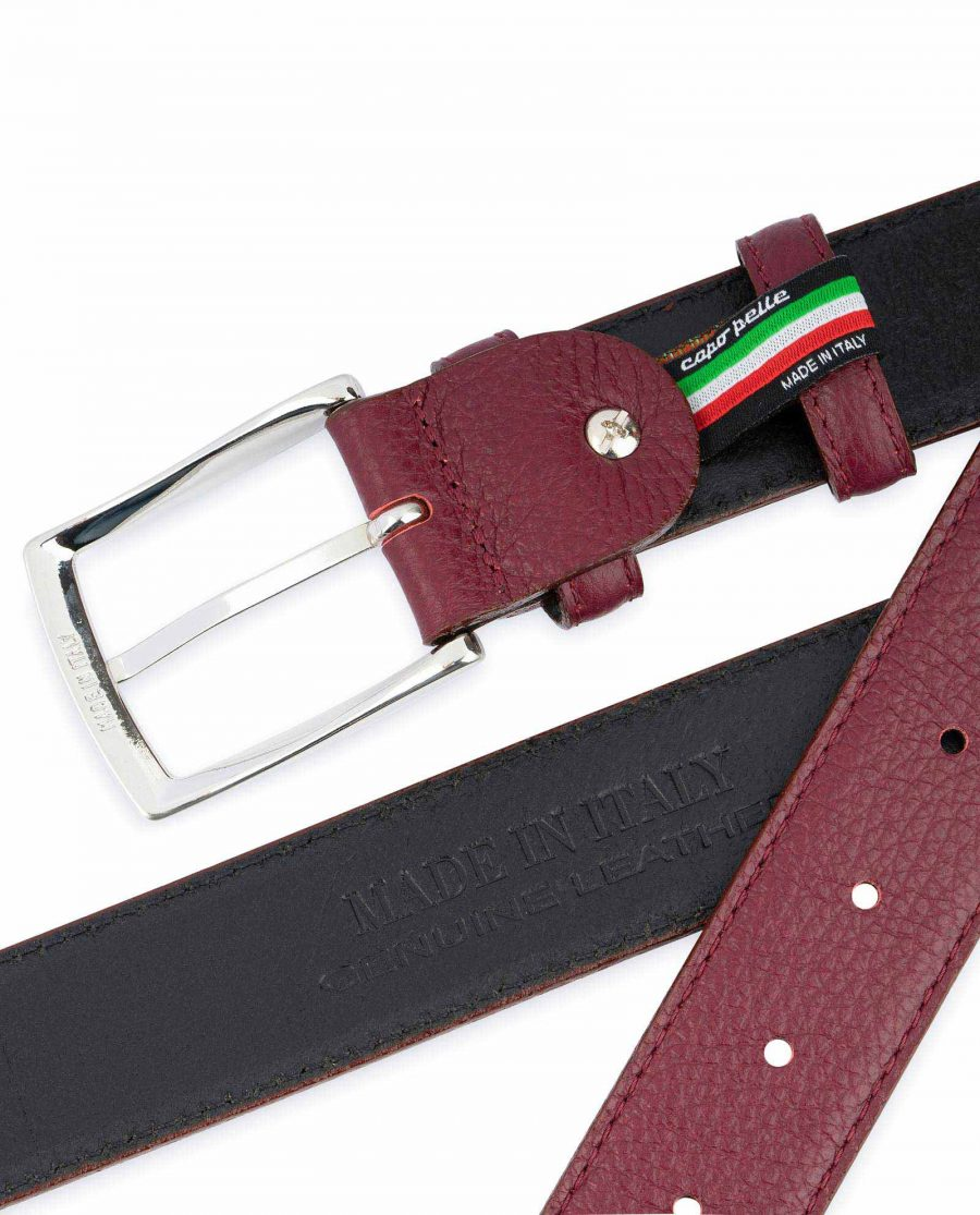 Burgundy Belt For Men Genuine Leather Made in Italy