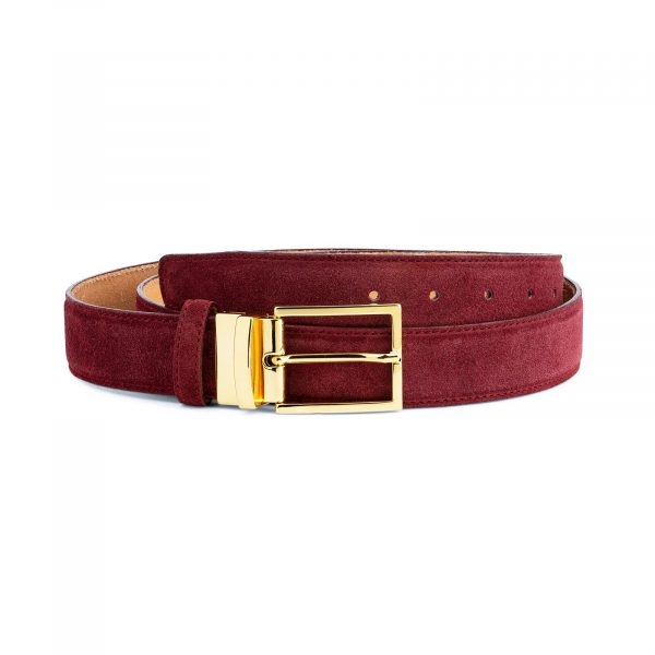 Burgundy Belt With Gold Buckle Suede Leather Capo Pelle