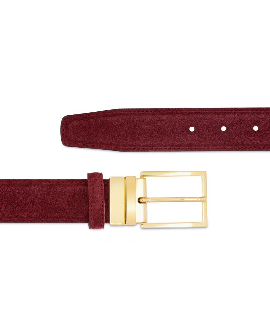 Burgundy Belt With Gold Buckle Suede Leather For jeans
