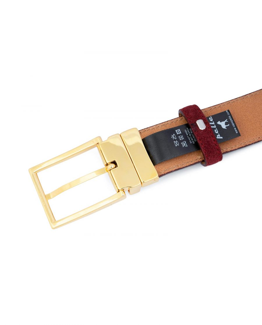 Burgundy Belt With Gold Buckle Suede Leather Italian