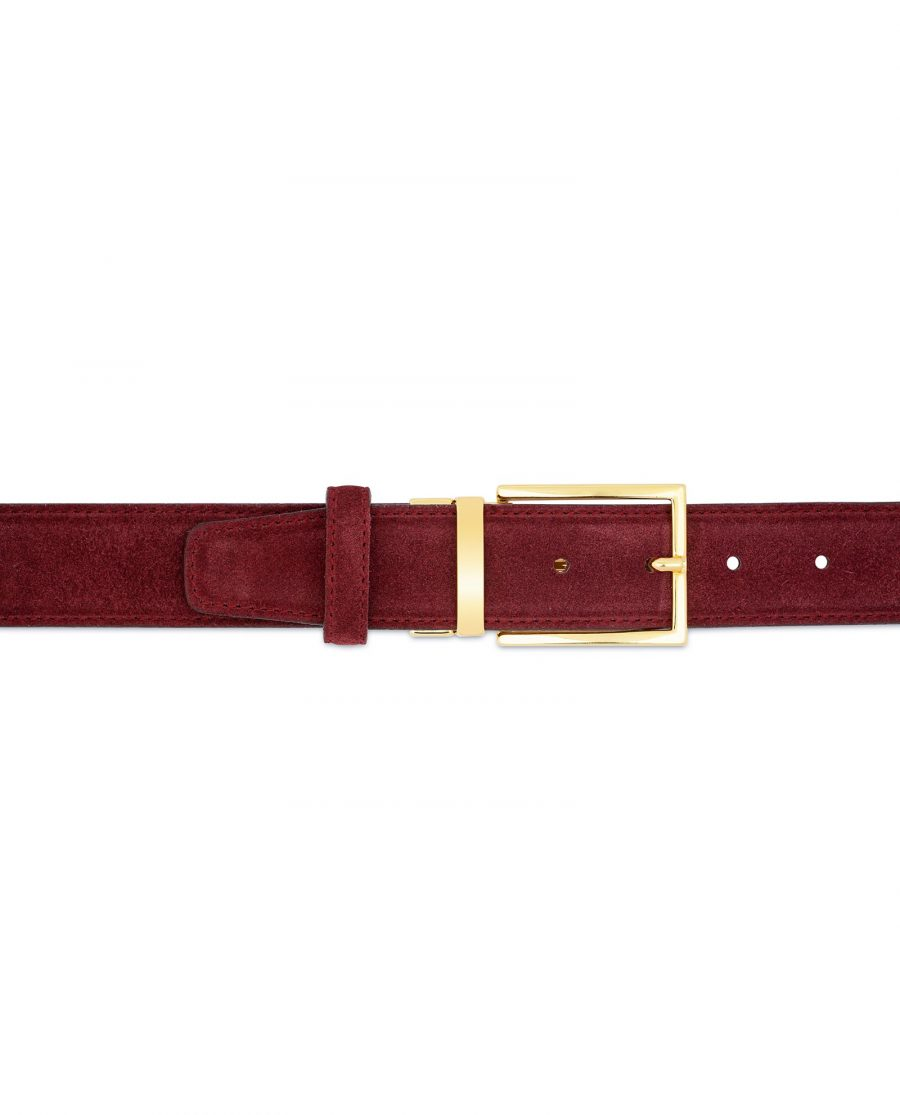Burgundy Belt With Gold Buckle Suede Leather On pants