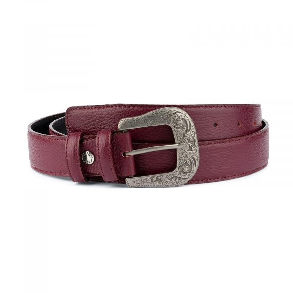 Burgundy Western Belt With Buckle Italian Leather Capo Pelle