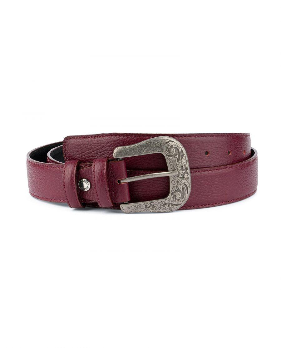 Burgundy Western Belt With Buckle Italian Leather Capo Pelle