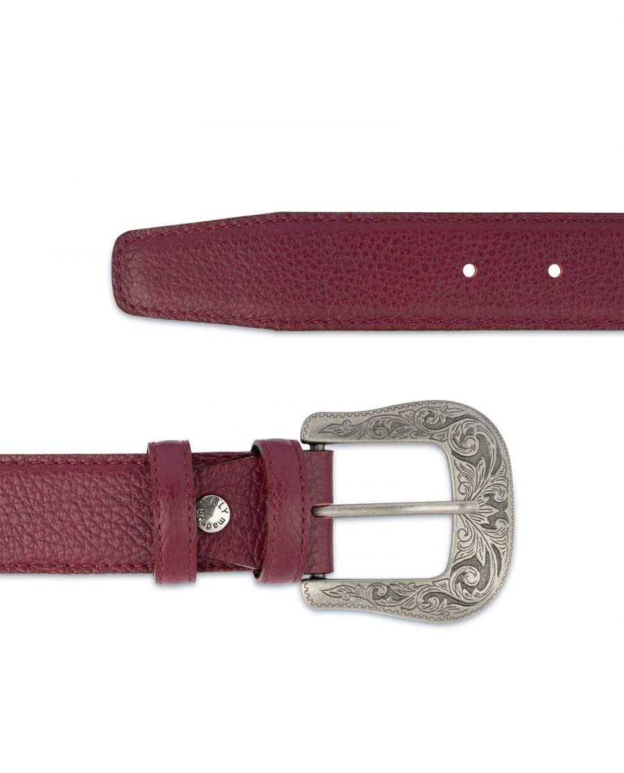 Burgundy Western Belt With Buckle Italian Leather For jeans