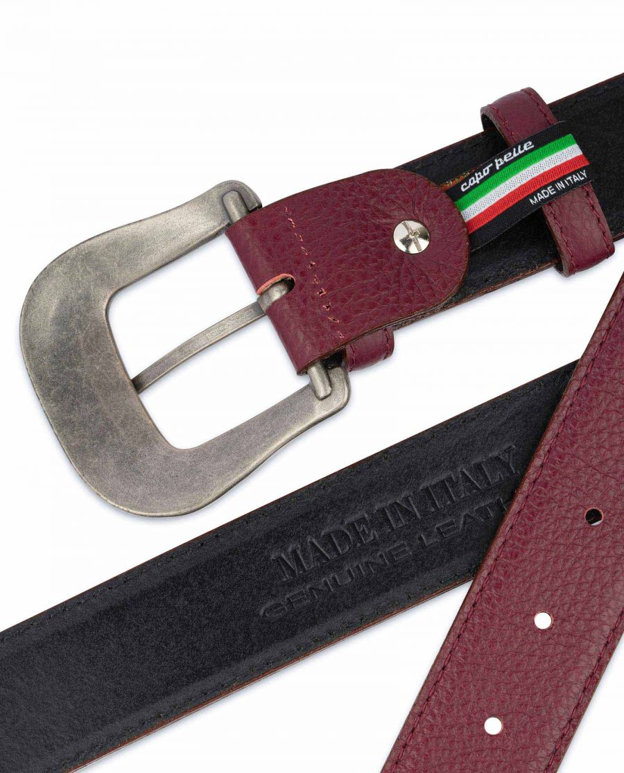 Burgundy Western Belt With Buckle Italian Leather SIlver antique