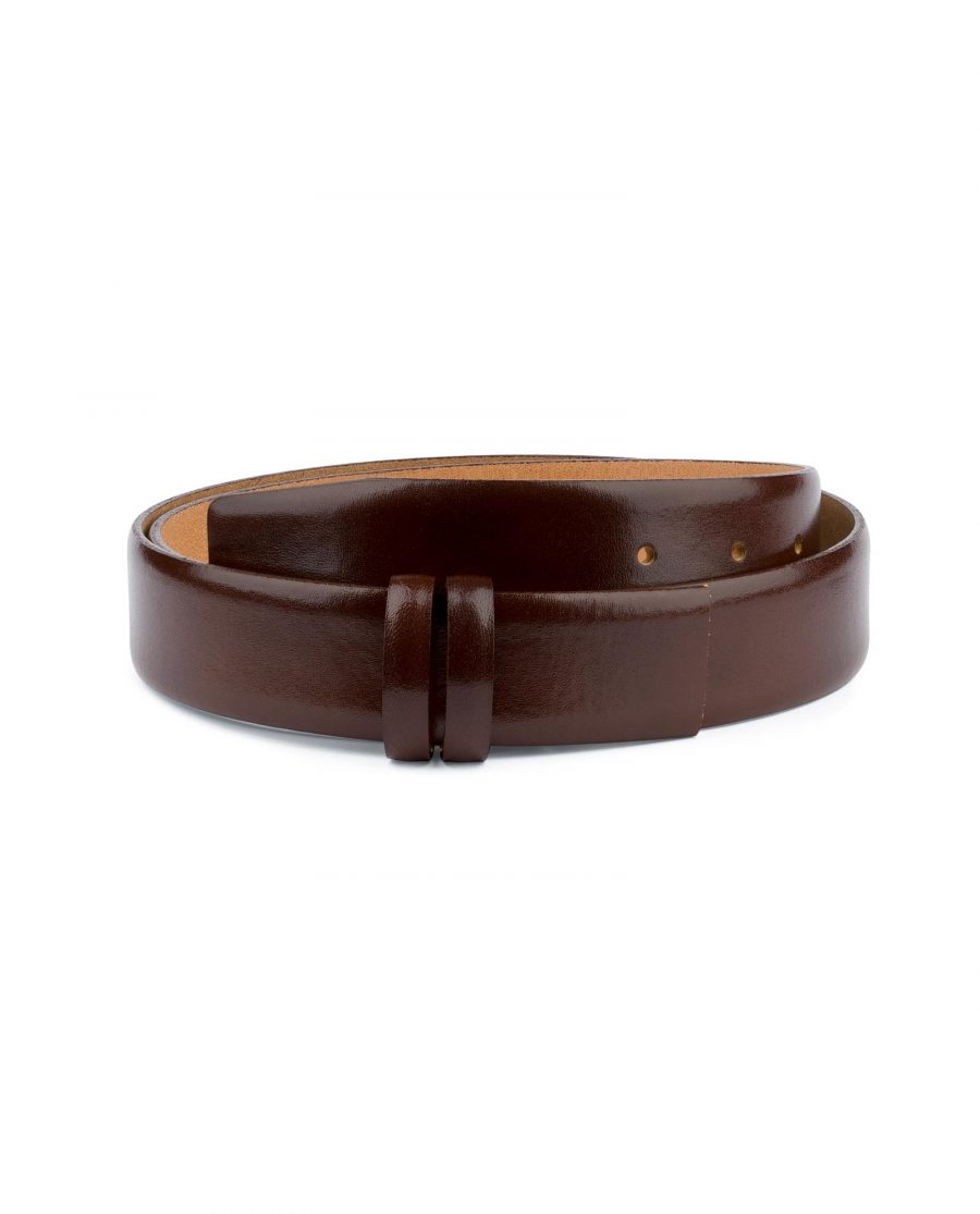 Cognac Leather Belt for Buckles 1 3 8 inch Capo Pelle