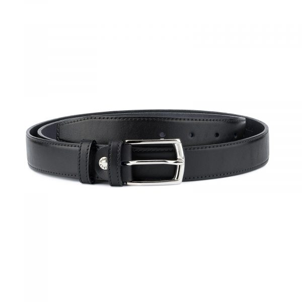 Full Grain Leather Belt Mens Dress Black Capo Pelle