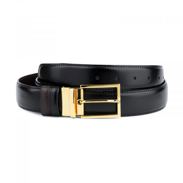 Gold Buckle Black Belt For Men Reversible to Brown Capo Pelle
