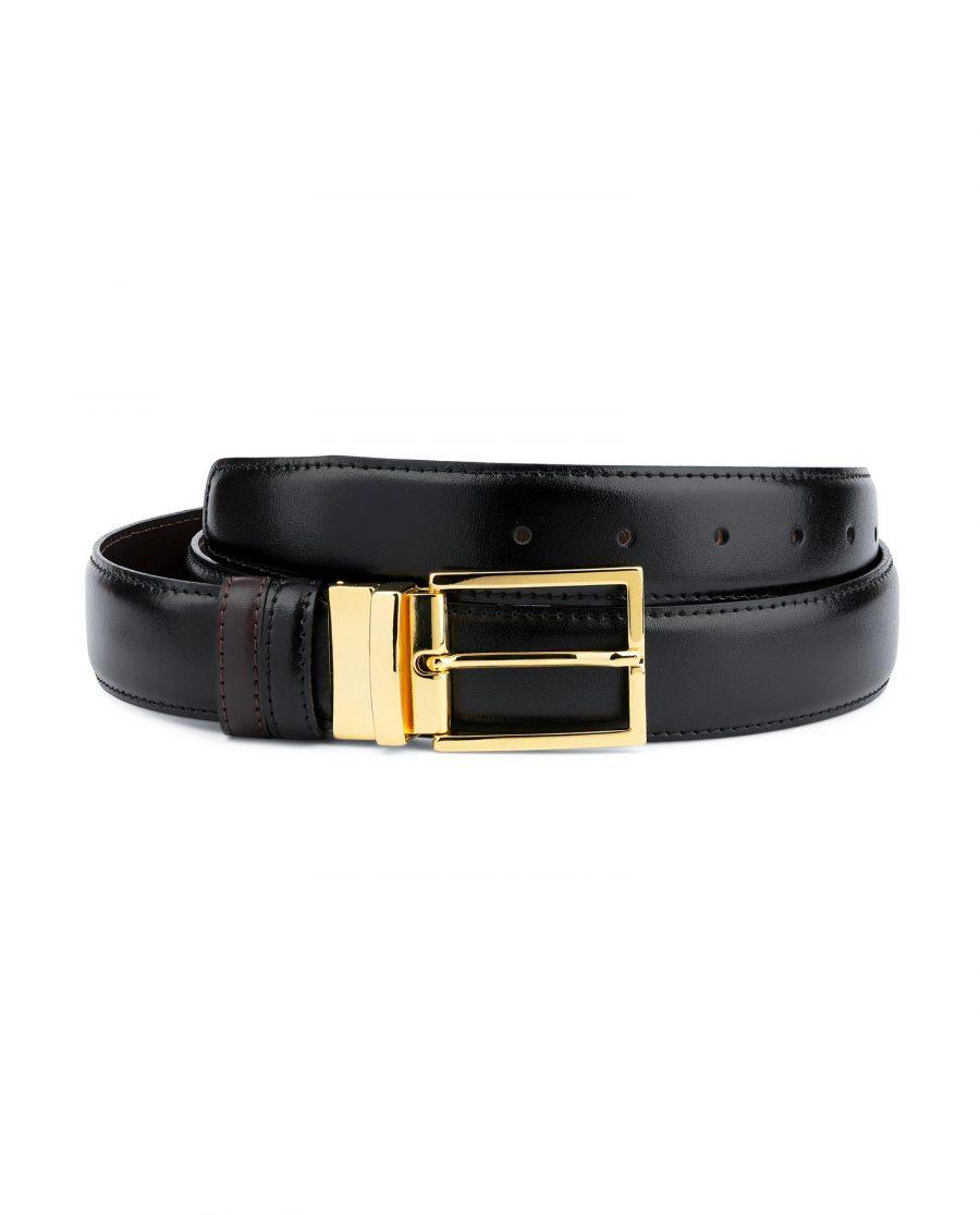 Gold Buckle Black Belt For Men Reversible to Brown Capo Pelle