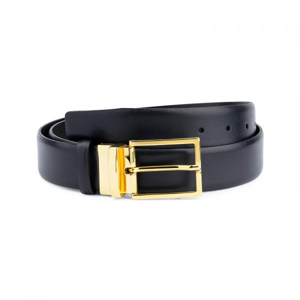 Mens Navy Blue Belt With Gold Buckle Capo Pelle