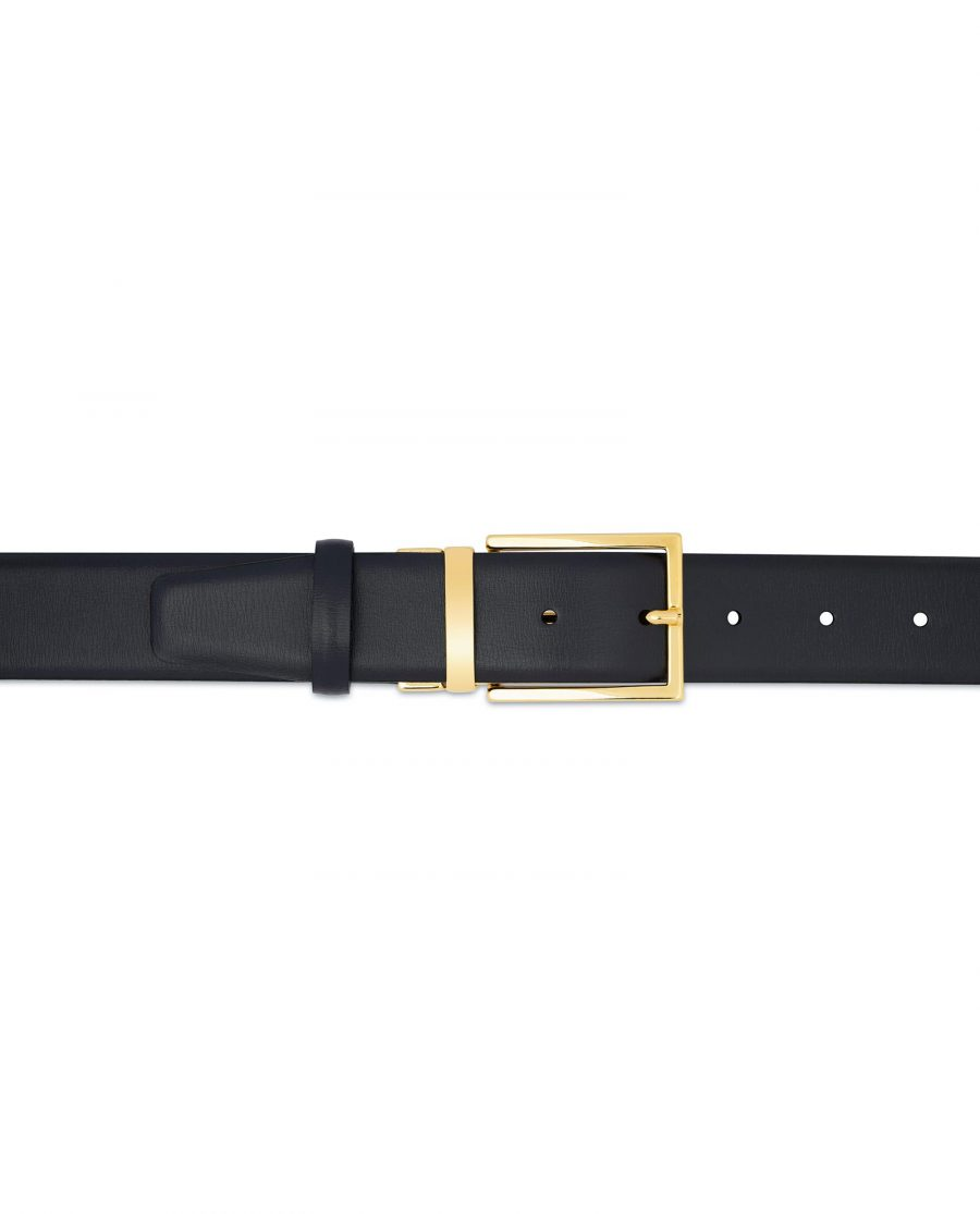 Mens Navy Blue Belt With Gold Buckle On trousers
