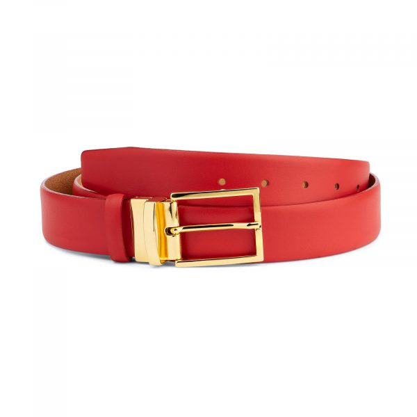 Mens Red Belt With Gold Buckle Capo Pelle