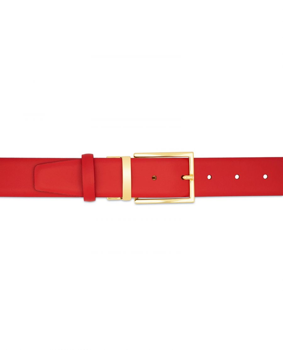 Mens Red Belt With Gold Buckle Casual belts