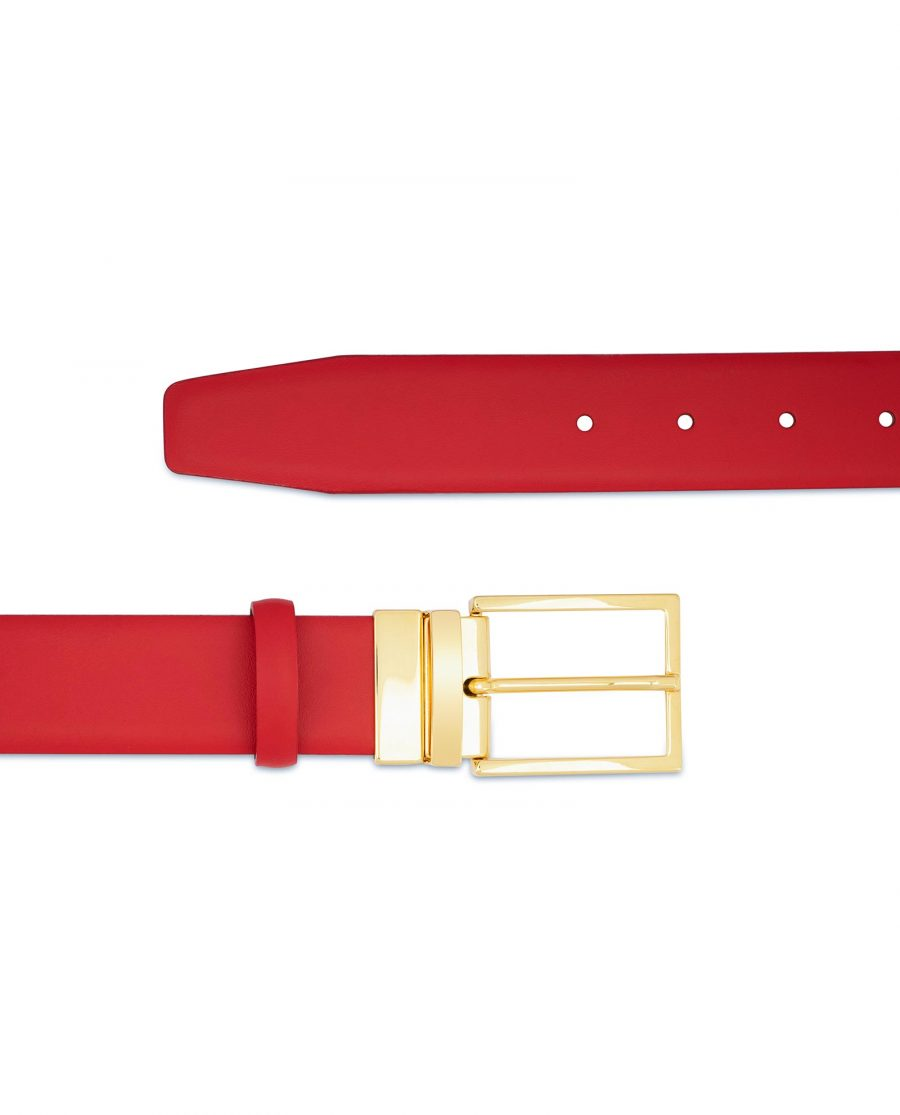 Mens Red Belt With Gold Buckle Genuine leather