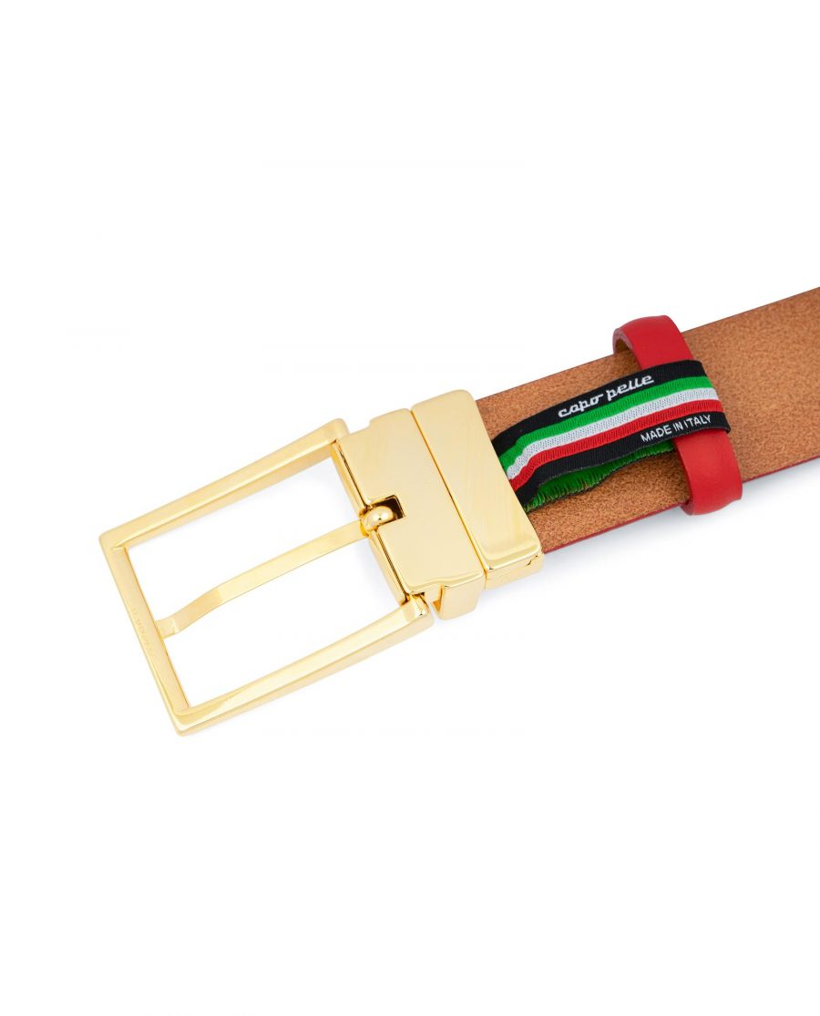 Mens Red Belt With Gold Buckle Italian