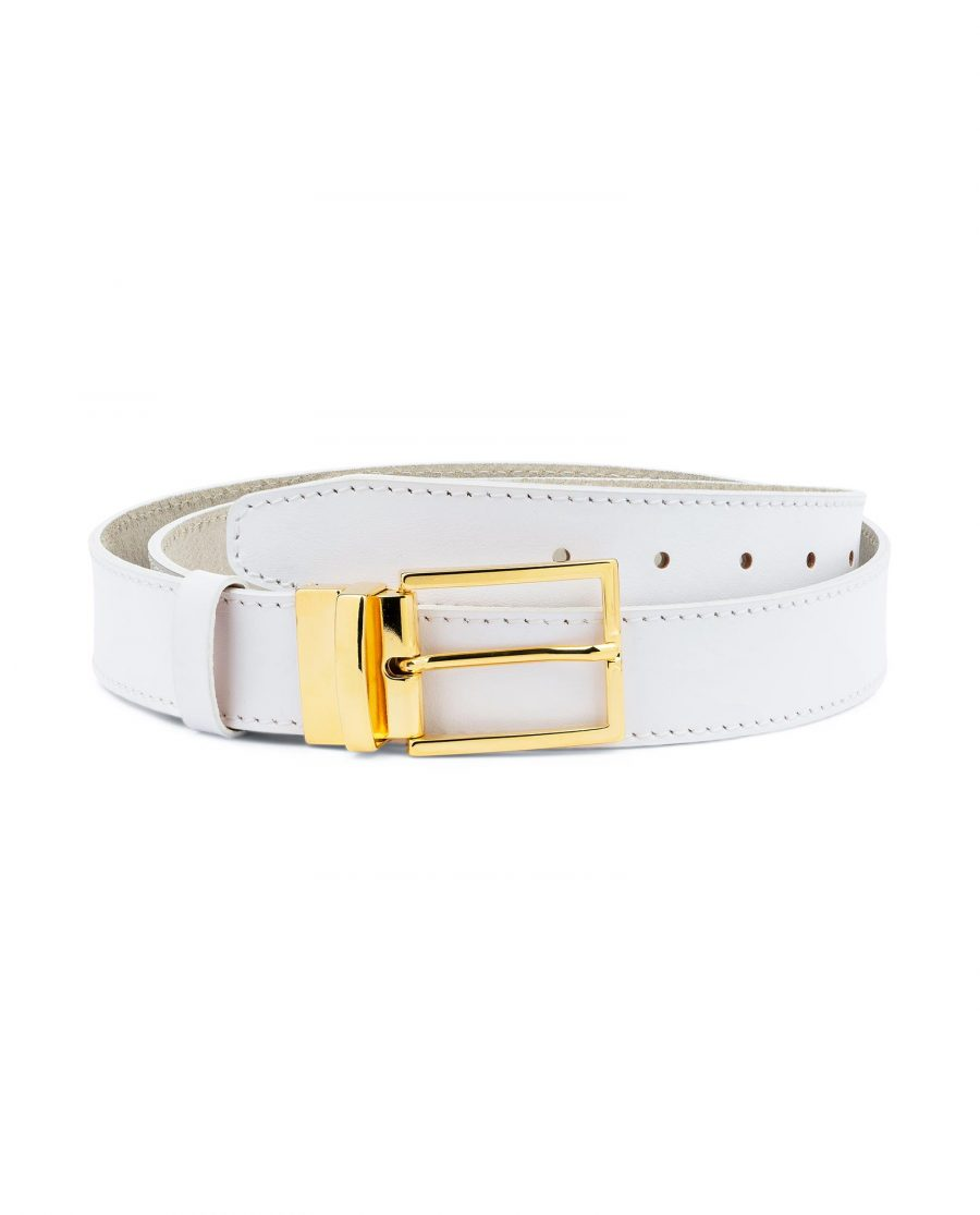 Mens White Belt With Gold Buckle Genuine Leather Capo Pelle