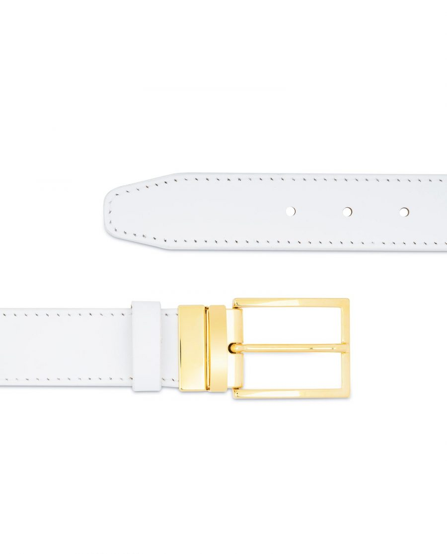 Mens White Belt With Gold Buckle Genuine Leather For jeans