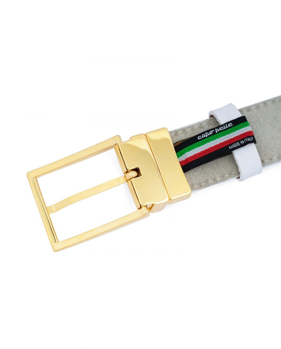 Mens White Belt With Gold Buckle Genuine Leather Italian