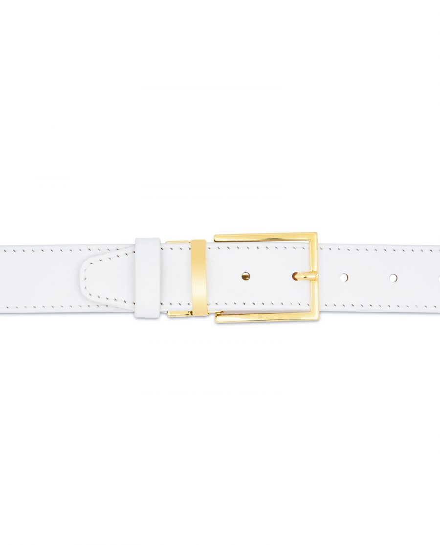 Mens White Belt With Gold Buckle Genuine Leather Wedding