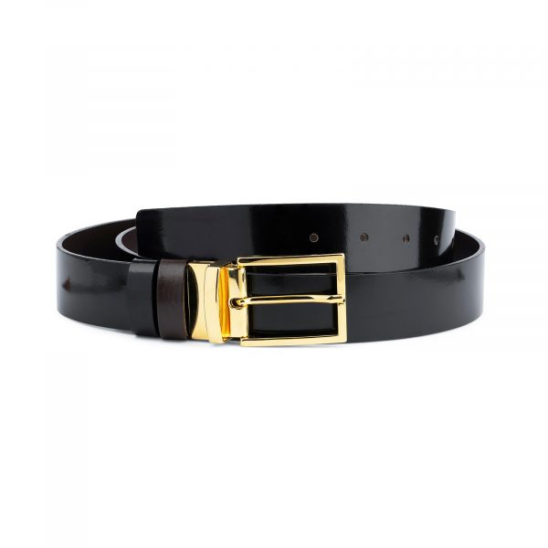Patent Leather Belt With Gold Buckle Reversible Capo Pelle