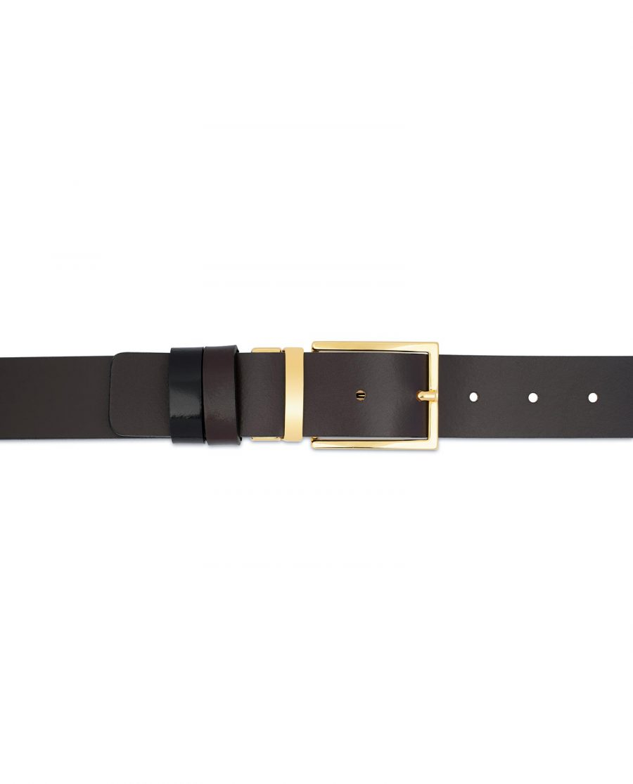 Patent Leather Belt With Gold Buckle Reversible For pants