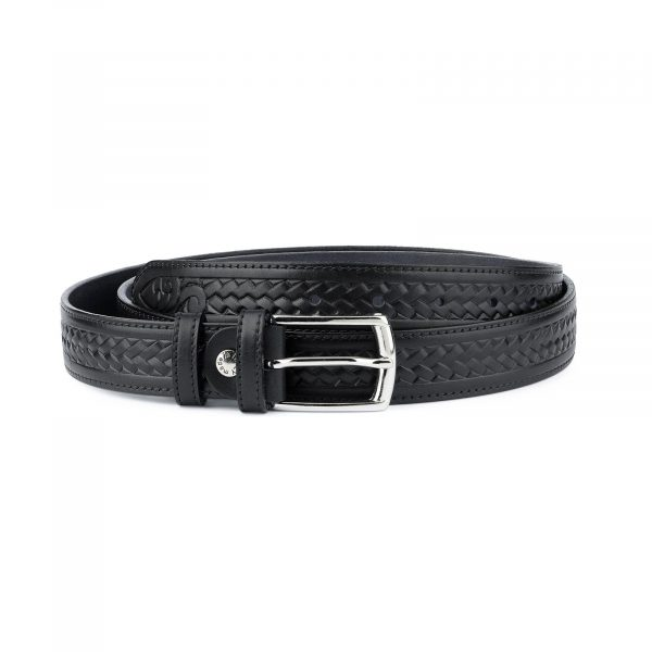 Tooled Leather Belt Mens Black Full Grain Capo Pelle