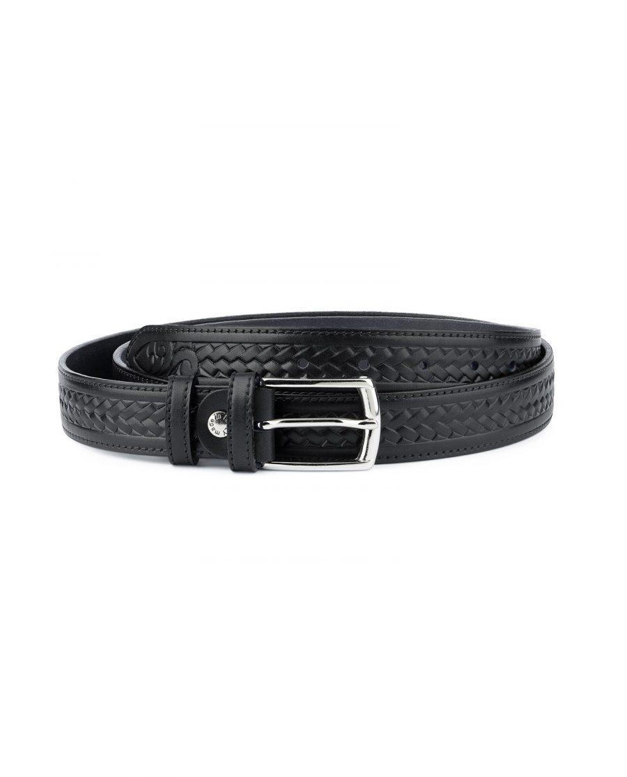 Tooled Leather Belt Mens Black Full Grain Capo Pelle