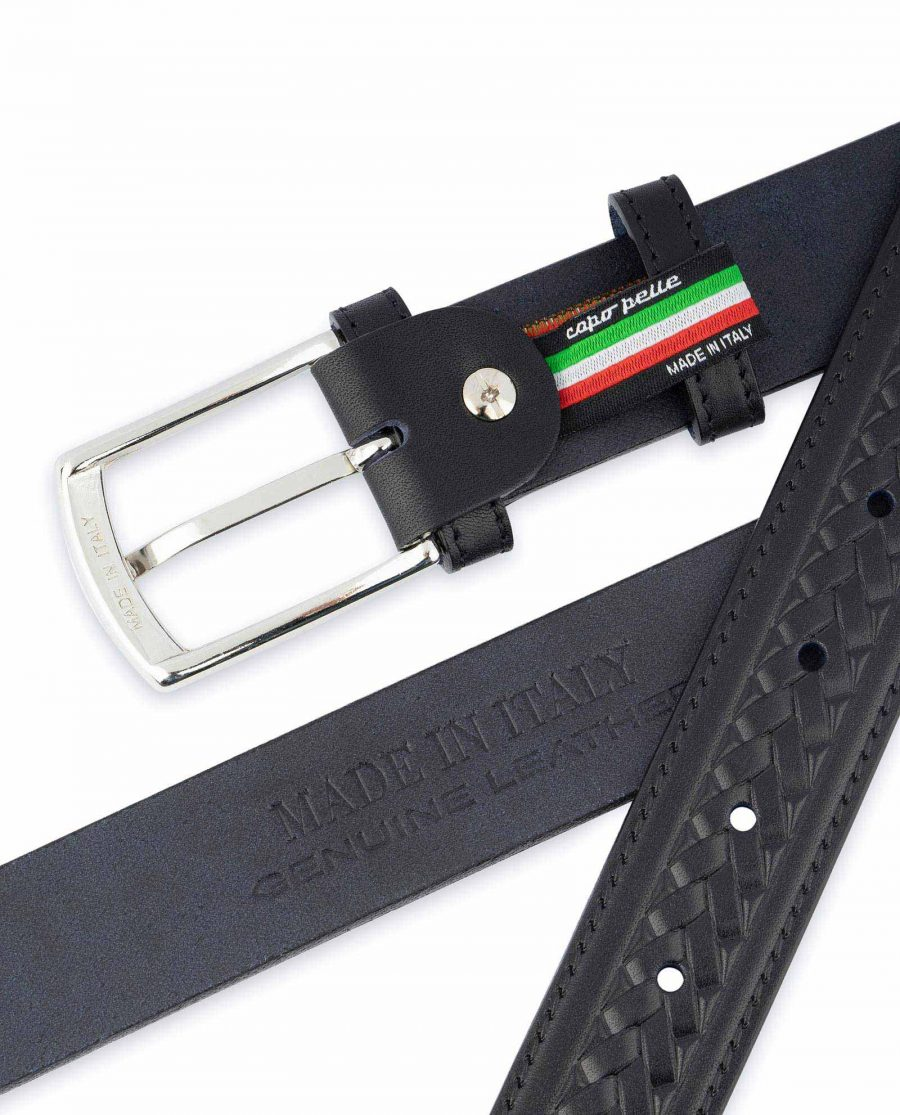 Tooled Leather Belt Mens Black Full Grain Made in Italy
