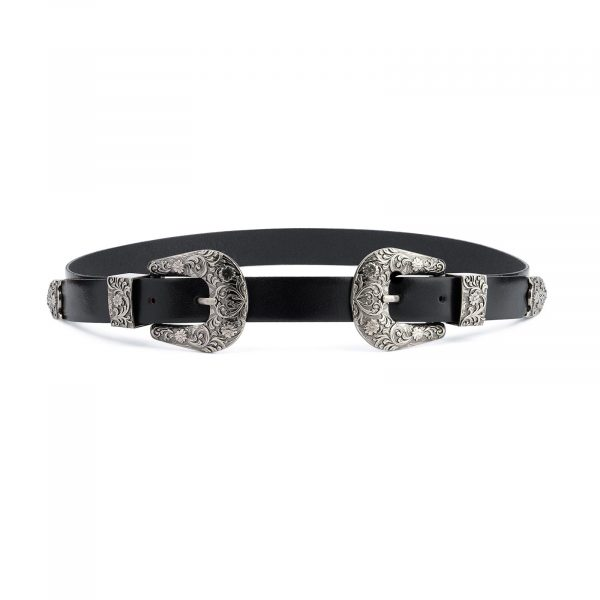 Western Double Buckle Belt For Women Black Leather Capo Pelle