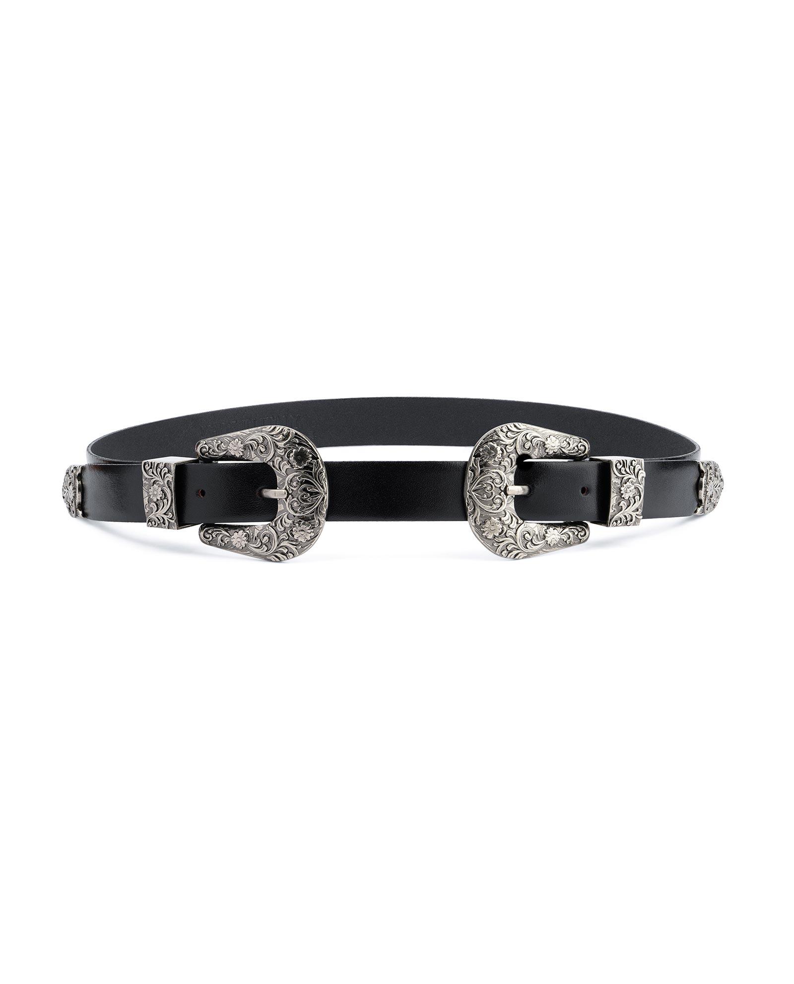 Western Double buckle belt Womens belts for dresses Black leather Lady For  jeans | eBay