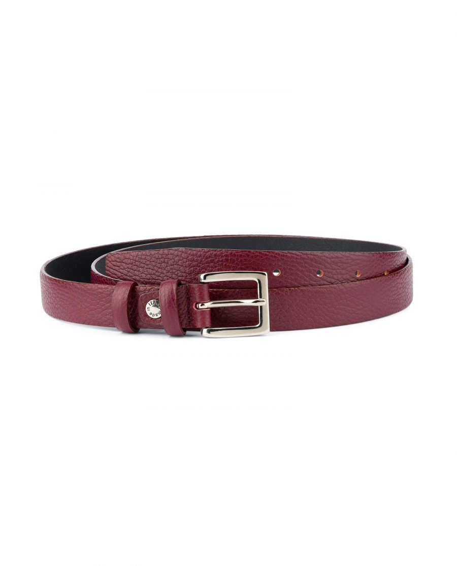Womens Burgundy Belt For Dresses Capo Pelle